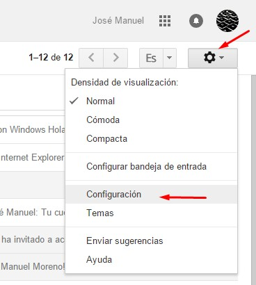 activar atajos teclado gmail