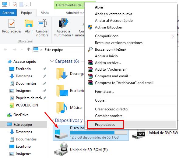 reparar disco windows 10