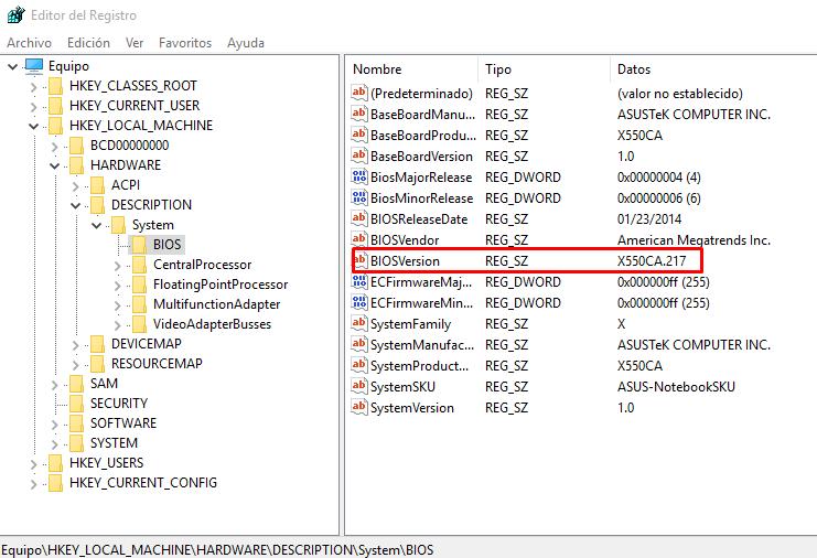 ver version bios editor registro WINDOWS 10