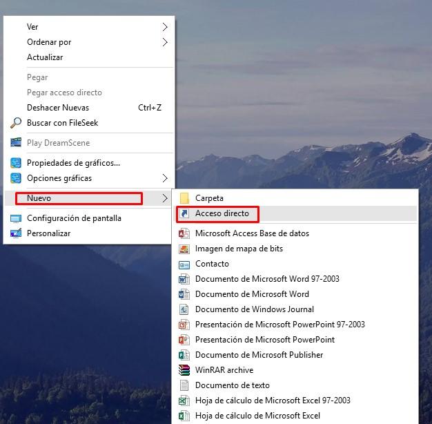crear acceso directo ajustes windows