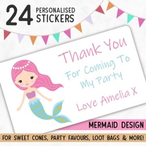 Personalised Mermaid Party Stickers