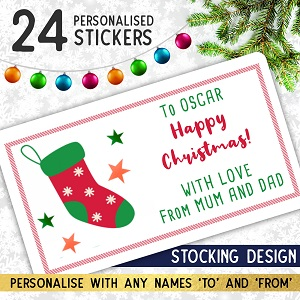 Personalised Christmas Stocking Stickers