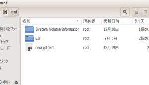 図30:暗号化用ボリュームファイルencryptfile1が完成