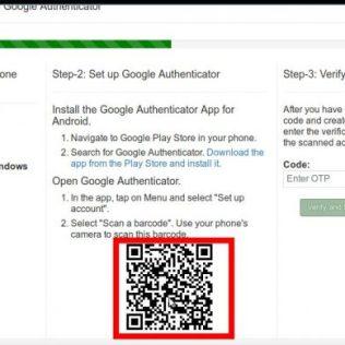 図5−2:QRコードをスマホのGoogle認証システムアプリを起動して、丸+をタップし、バーコードをスキャンをタップし、このQRを読み取る。