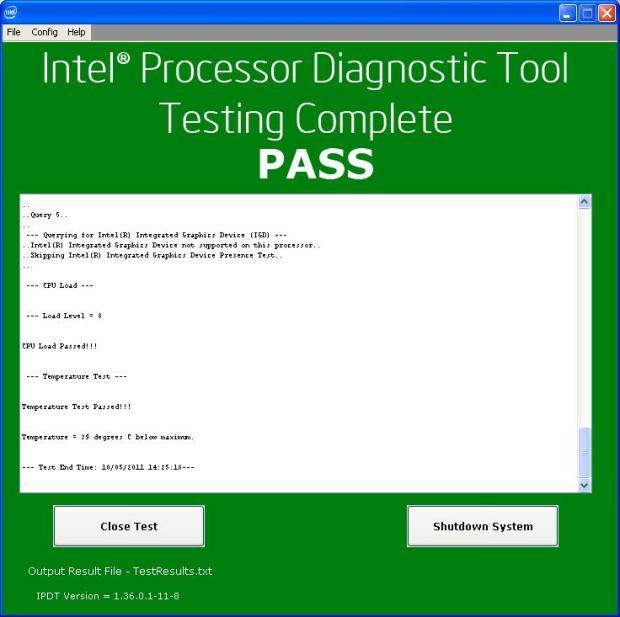 Результаты тестирования центрального процессора