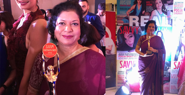 Principal, Dr. Daphne Pillai was awarded the SAVVY HONOURS Celebrating Success Award at a star studded glittering function at the Taj Santacruz on 24th July, 2016