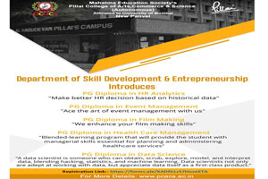 Department of Skill Development & Entrepreneurship introduces PG Diploma in HR Analytics, Event Management, Film Making Health Care Management, Data Science