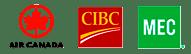 Air Canada, CIBC and MEC logos