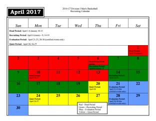 April 2017 NCAA Basketball Recruiting Calendar