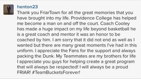LaDontae Henton thanks Friartown after his career ends.