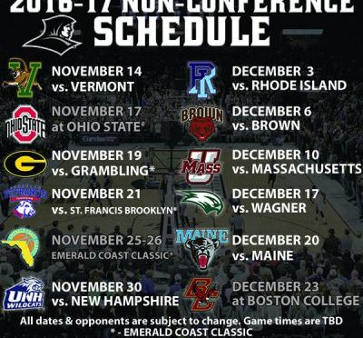 Providence Released 2016-17 Non-Conference Schedule