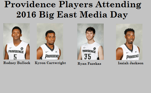 Providence Sending Four Players to 2016 Big East Media Day