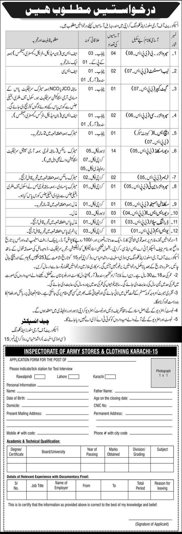 6998 Pak Army Inspectorate of Army Stores Clothing Karachi Jobs 2020 for Supervisors