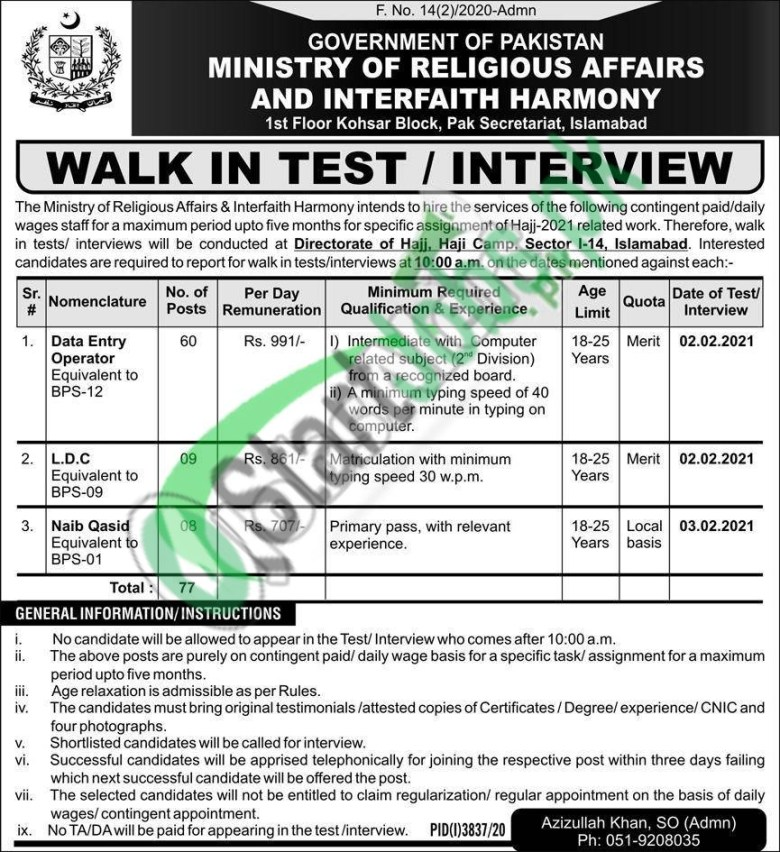 Ministry of Religious Affairs Islamabad Jobs 2021-22 (1)