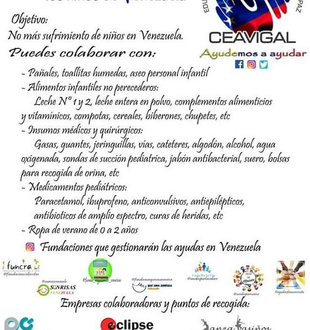 Campaña de colaboración para los niños de Venezuela.