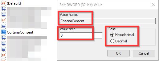 CortanaConsent-DWORd-value-op-0-zetten Zoekfunctie Windows 10 werkt niet