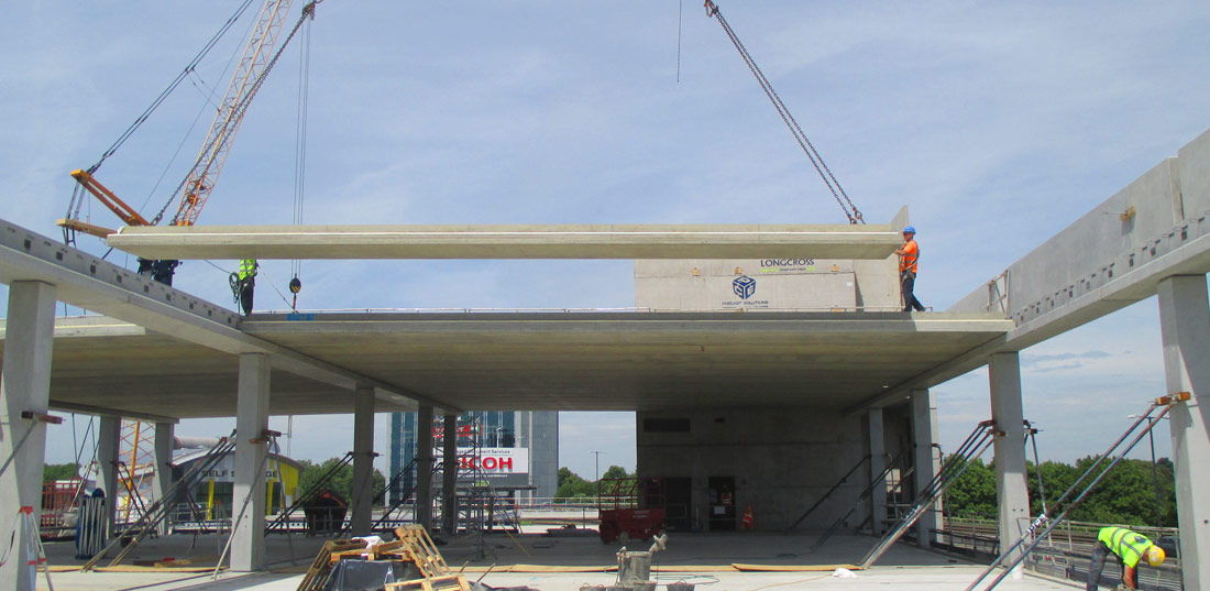 precast concrete frame for Longcross Construction