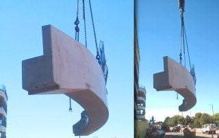 Lexicon Bracknell precast curved ramp element being lifted