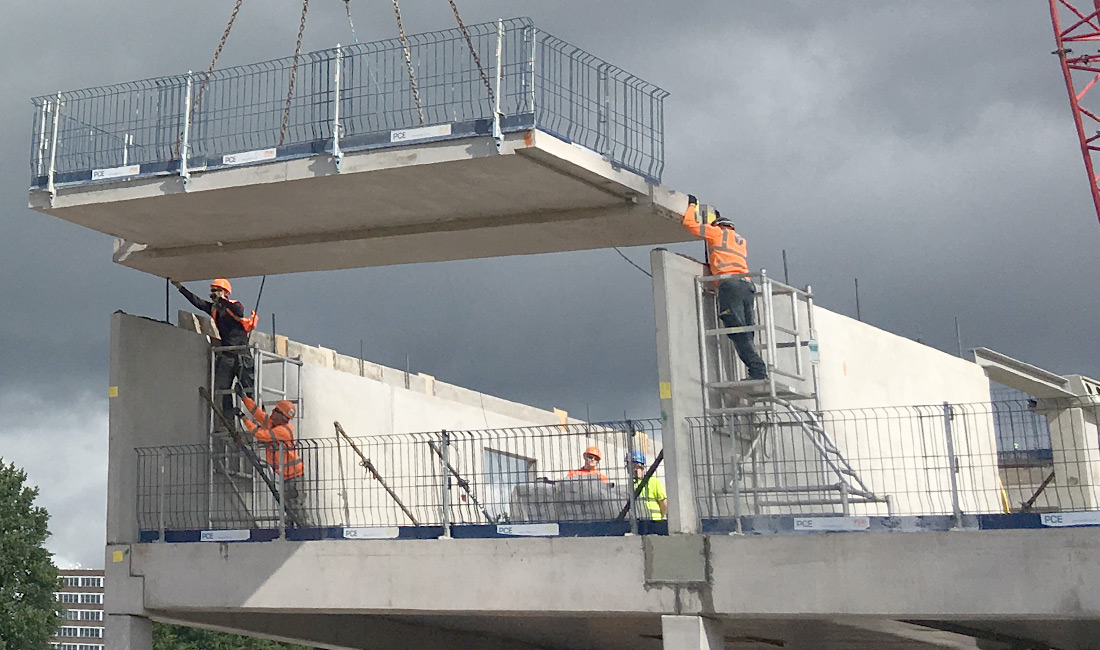 Offsite manufactured concrete installation at Old Trafford