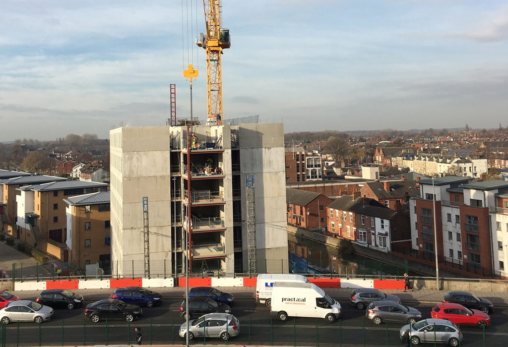 Precast concrete construction at University of Lincoln