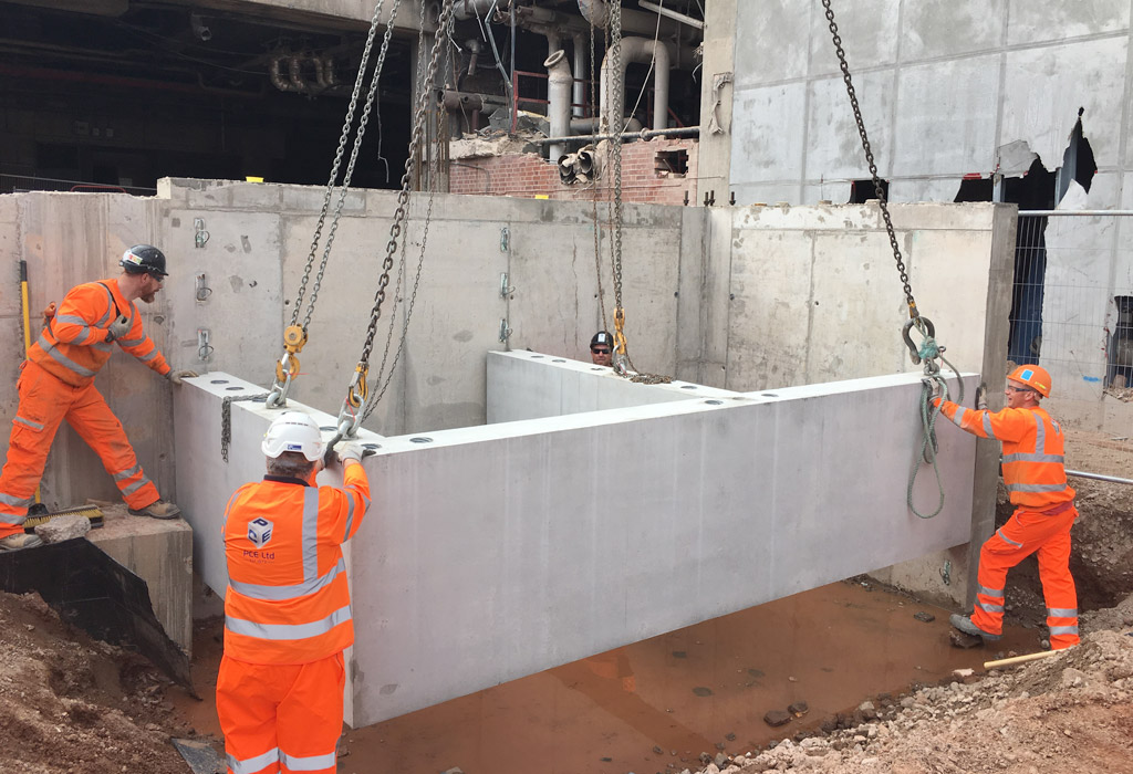 Erection of precast concrete units at Paradise by PCE Ltd