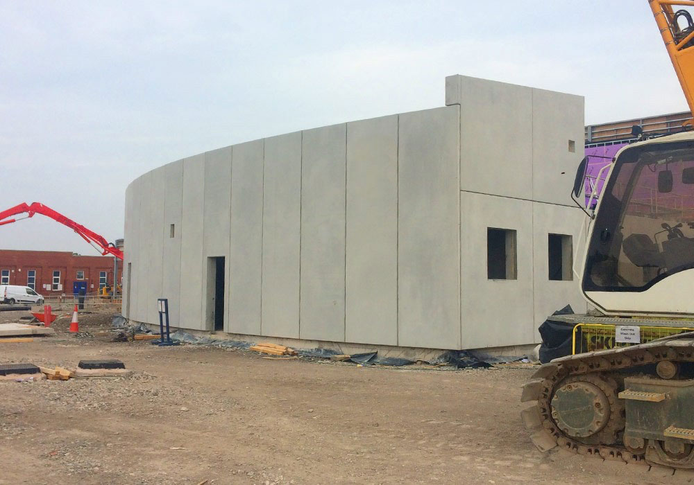 A number of curved reinforced precast concrete units