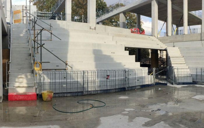 Precast concrete elements for auditorium by PCE Ltd