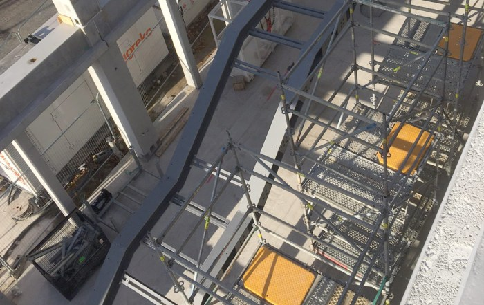 Kingston University - steel stairs being installed