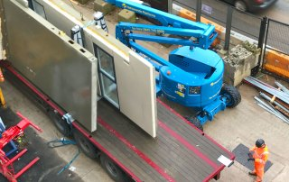 Precast concrete is being used for the crosswalls, cores, balconies, solid floor slabs, stairs and landings