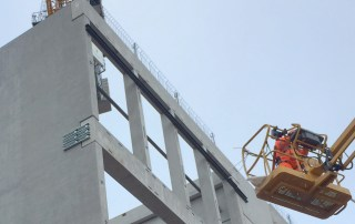 Construction of the hybrid structural frame using two tower cranes