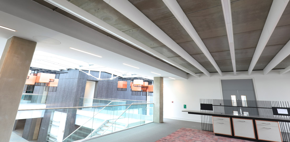 Large areas of exposed concrete finishes reduced overall building completion time