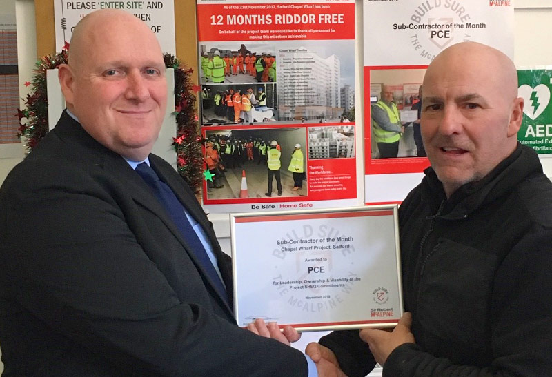 Guy Livingston of PCE receives his safety award