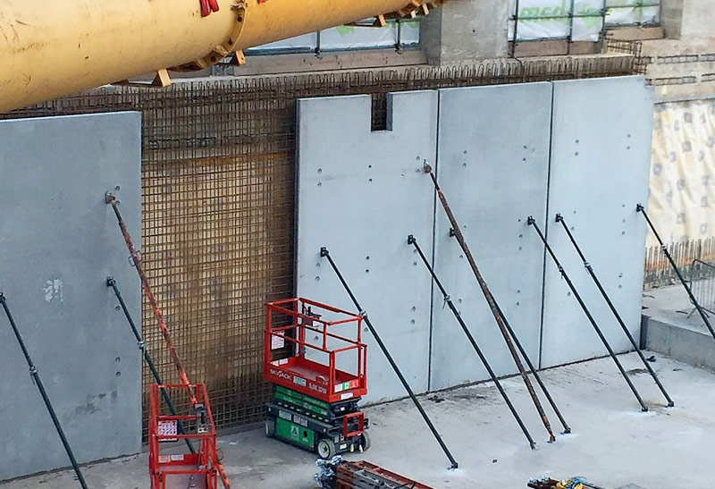 The composite precast and insitu concrete wall will form the watertight inner lining of the basement box