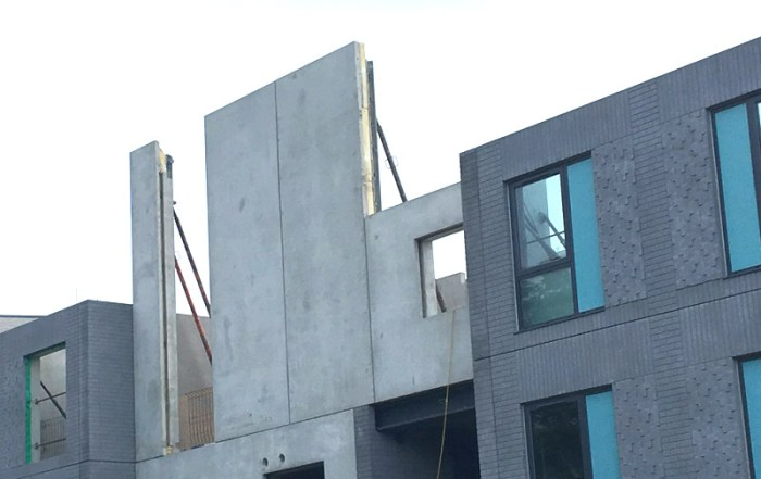 The external facade of PCE's project were formed with insulated precast concrete sandwich panels