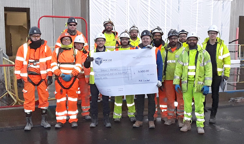 PCE's Warwick project construction team supporting Simon's Heroes