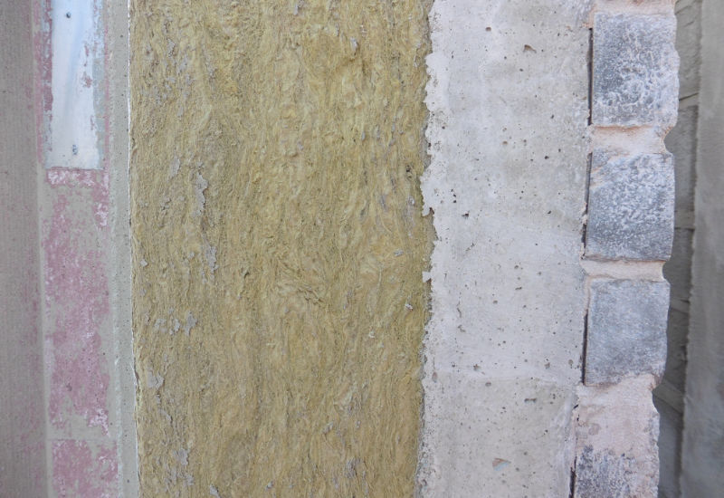 Section build up through sandwich panel to show the bricks cast into the External leaf and insulation