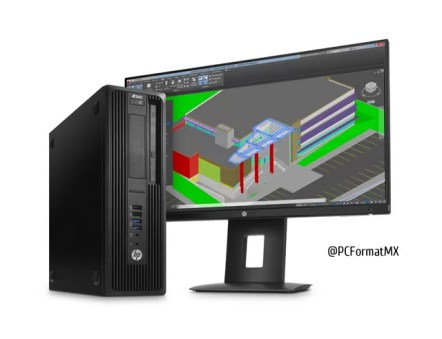 HP Z240 SFF Workstation with Z23n Display, Right facing Hero