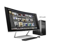 HP Z Display Z34c Curved Monitor with HP Z840 Workstation, Keyboard & Mouse, Right facing