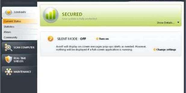 תמונה המסך של התוכנה החינמית של Avast