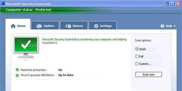תמונה מסך מתוך ה-Microsoft Security Essentials
