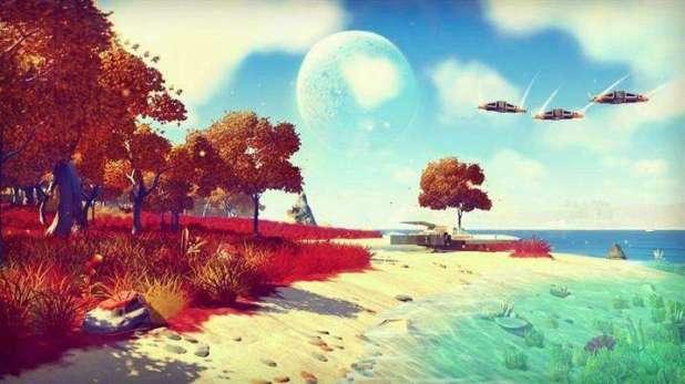 תמונה מאחד מכוכבי הלכת הרבים של המשחק No Man's Sky.