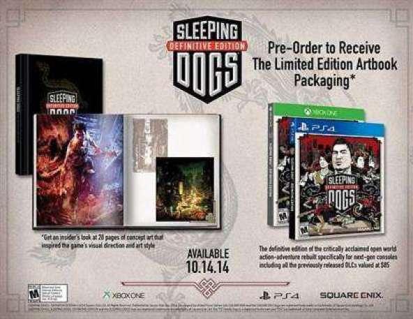 תמונת הפרסומת של המשחק Sleeping dogs עם החבילות וההזמנה המוקדמת