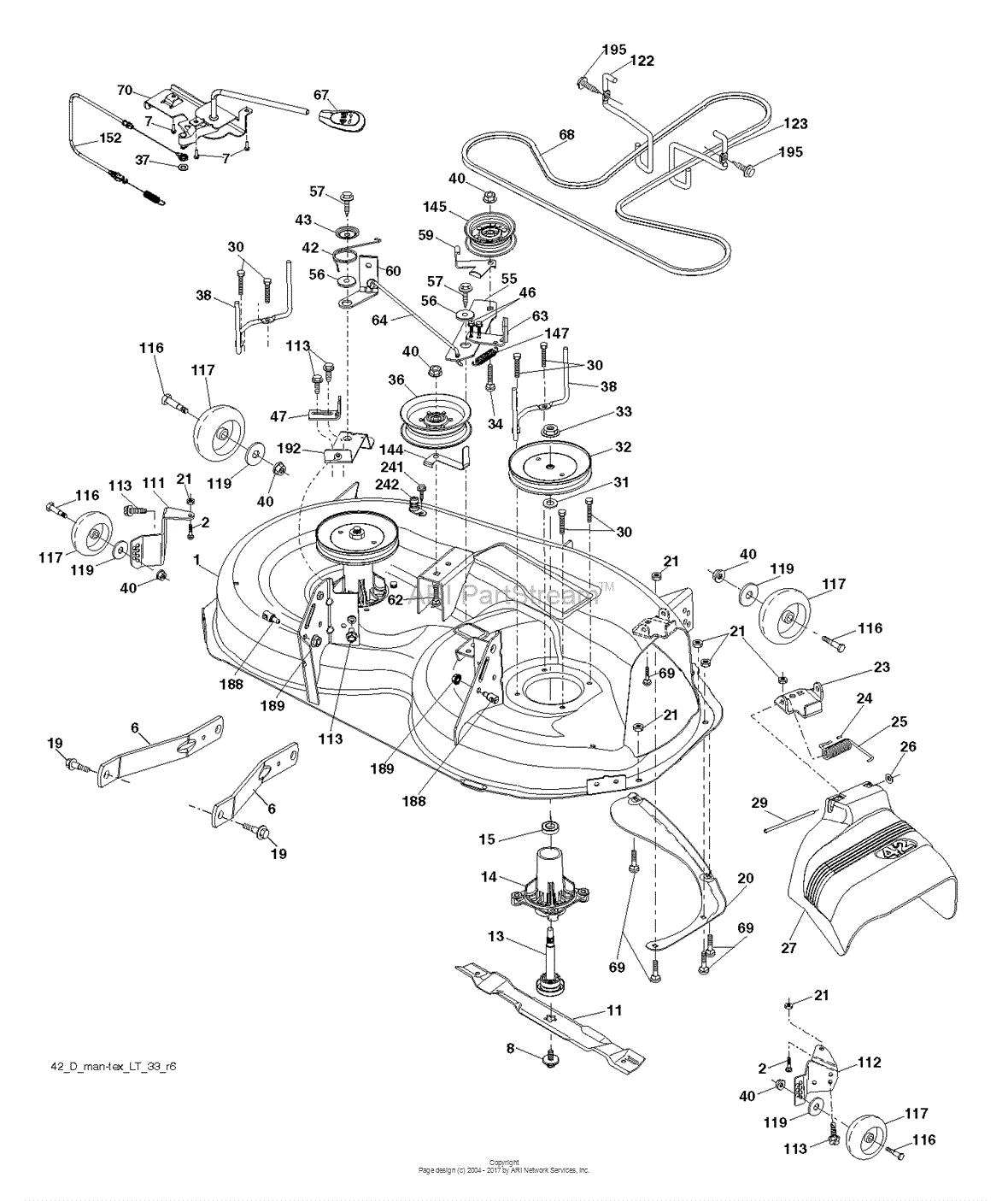 Poulan pb22h42yt 96048005100 2012 11 parts diagram for mower deck
