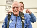 Harry Read, 94, jumped 10,000ft in his first skydive today since parachuting into Normandy on D-Day 74 years ago in World War II