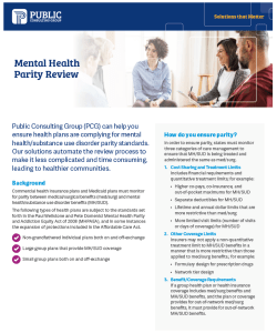 Health Policy News Mental Health Parity datasheet