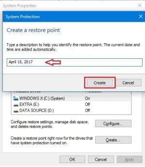 windows system restore point