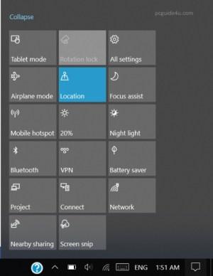 shortcut to open Windows 10 action center