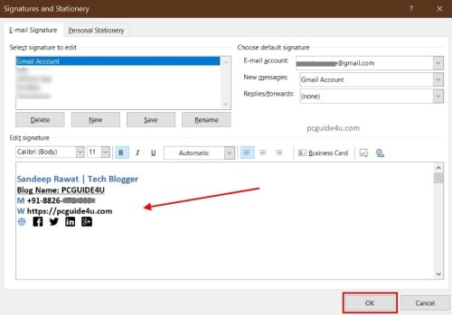 add outlook signature