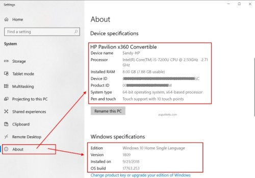 check windows specification