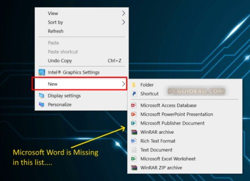 right click microsoft word document missing